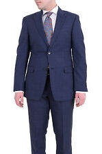 Tommy Hilfiger Trim Fit Blue Windowpane Two Button Wool Suit