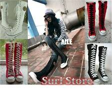 Sneaker Women Girl Punk Shoes EMO Rock Gothic Lace up Canvas boots knee high