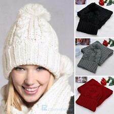 2PCS Knitted Winter Warm Women Wool Hat Scarf  Wrap  Sets New Fashion Beanies