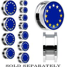 European Union Flag Stainless Steel Screw Fit Plug