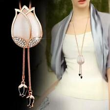 New Charm Woman Pink Tassel Flowers Buds Crystal Pendant Long Sweater Necklace g