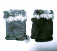 Set of 2 Variety Winter Fingerless Faux Leather Glove Hand Wrist Warm Rabbit Fur