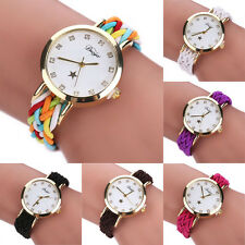 Womens Lady Braided Knitted Smple Casual Bracelet Analog Quartz WristWatchs