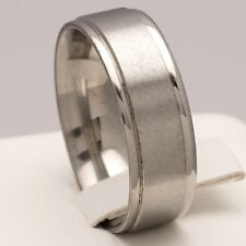 New 8mm Stainless Steel Silver Plain Plated Mens Ring Womens Band (Size M to X)