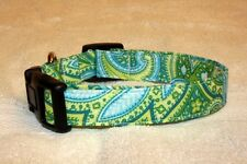 Lime Green Paisley Adjustable Dog Collars & Martingales & Leashes & Cat Collars