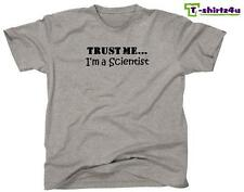 TRUST ME I'M A SCIENTIST Funny Humor Gag Gift Fun Tee T-Shirt - NEW - Grey