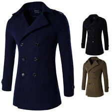 Winter Mens Double breasted Slim Stylish Trench Coat Double Breasted Long Jacket