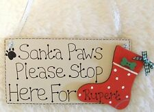 HANDMADE PERSONALISED CHRISTMAS PET DOG NAME SANTA STOP HERE PLAQUE SIGN GIFT