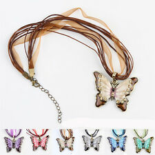 Fashion Heavy Rhinestone Butterfly Pendent Necklace Sweater Chain 6 Color HOT