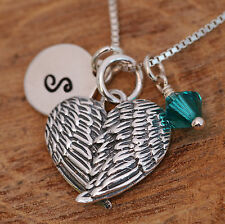 925 Sterling Silver Personalised Angel Wings Heart Pendant Necklace & Birthstone