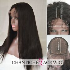Real Human Hair Silk Top Lace Front Wigs Indian Remy Silky Straight Black Wig UK