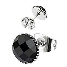 Spikes Stainless Steel Faceted Round Onyx Gem Stud Earrings
