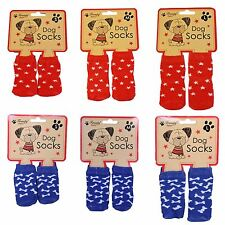 Frosty Paws Christmas Non Slip Dog Socks RED OR BLUE - Small Medium OR Large