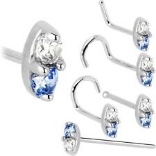 14K White Gold Arctic Blue 1.5mm CZ Marquise Nose Ring