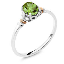 925 Sterling Silver and 10K Rose Gold Ring Oval Green Peridot 0.80 cttw
