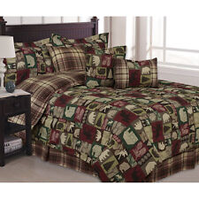 NEW Twin Full Queen King Bed Green Burgundy Cabin Plaid Lodge 7pc Comforter Set