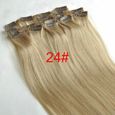 16''~26'' 8PCS Blonde Remy Hair Clip In 100%Real Human Hair Extension Full Head