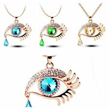 Fashion Crystal Teardrop Eye Lashes Long Sweater Chain Necklace Jewelry Gift