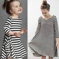 Hot Mother and Daughter Striped Casual Family Outfit Parent-Child Top Long Dress