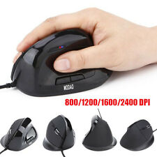 6 Buttons USB Wired Led Gaming Vertical Mouse Mice 800/1200/1600/2400 DPI LOT