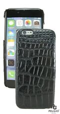 PELGIO Genuine Crocodile Belly Skin Leather iPhone 7 Hard Case Back Cover Black