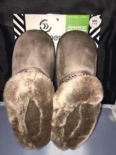 ISOTONER Women's Addie Hoodback Microsuede Clog Slipper Taupe w Faux Fur