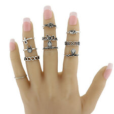 10PCS Punk Vintage Women Knuckle Rings Tribal Ethnic Hippie Stone Joint Ring MEN