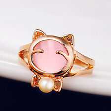 Girls Women Lovely Jewelry Cat eye stone imitated pearl bead alloy ring