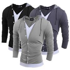 Fashion Mens Men V Neck Long Sleeve Hooded Casual T-Shirt Tops Tee Shirts