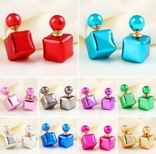 Stud Charm Jewelry Colors Candy Earrings Square 1 Pair Colorful Statement Women