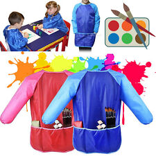 Kids Waterproof Smock Apron Drawing Painting Cooking With Pockets Long Sleeves