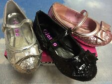 Josmo Girls Glitter V Mary Janes Flats Causal / Dress Shoe Toddler Size 5 to 7