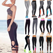 Bandage Gym Womens Cropped Yoga Pants Sport Workout Spandex Fitness Running S278