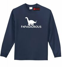 Papasaurous L/S T Shirt Funny Dad Gift Fathers Day Father Dinosaur Humor Tee Z1