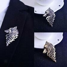 Vintage Mens Shirt Suit Accessory Wolf Badge Brooch Lapel Pin Party Jewelry