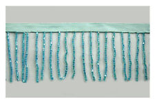 "Unotrim 2"" or 3"" Aqua Blue Beaded Fringe Trim with Glass Short Bugle Beads by Yd"