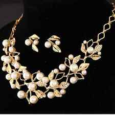 Chic Women Imitation Pearl Crystal Necklace Earring Fashion African Jewelry Set