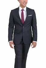 Kenneth Cole Reaction Slim Fit Charcoal Gray Tonal Plaid Two Button Suit