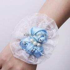 Hot Bridal Bridesmaid Prom Party Wrist Corsage Pearl Lace Bracelet Hand Flower