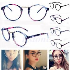 Women Vintage Retro Round Clear Lens Glasses Nerd Geek Eyeglass Eyewear