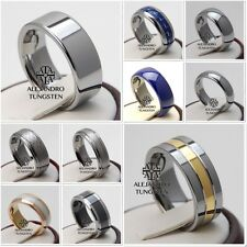 Tungsten Ring Wedding Bridal Band 8MM 6MM Silver Gold Shiny Size 6 to 14 #AA02