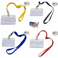 50 Set Premium Waterproof Clear Plastic Name Tags Badge ID Card Holder Lanyards