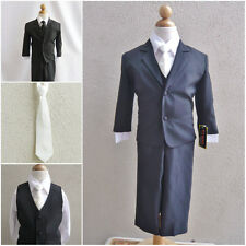 Black teen toddler boy formal suit with ivory long tie ring bearer prom party