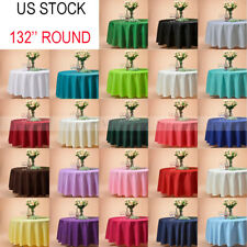 """VEEYOO 132"""" Round Polyester Tablecloth Table Cover Wedding Party Decor Colors"""