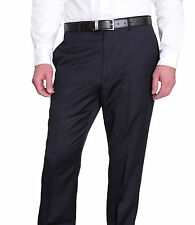 Tommy Hilfiger Mens Trim Fit Solid Navy Blue Flat Front Worsted Wool Dress Pants
