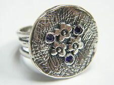 New Didae silver unique rough round texture ring flowers triple amethyst CZ