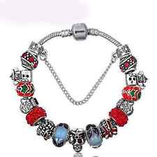 Butterfly Murano Santa Clause Winter Christmas Completed bracelet with charms