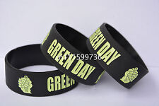"""GREEN DAY Silicone 1"""" Wide Debossed Wristband Bracelet"""