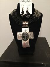 Black/Silver Western Necklace and Earring Set  Featuring Lg Silver Cross