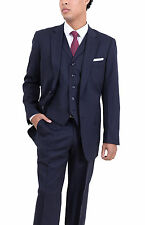 Arthur Black Classic Fit Navy Blue Pinstriped Two Button Three Piece Wool Suit